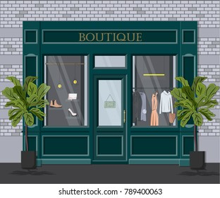 Graphic vector facade vintage boutique. Detailed Illustration of a clothes shop in a flat style. Retail storefront. European fashion store house