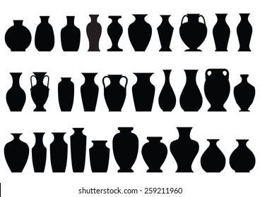 graphic vector format of shadow of many kinds of vases/vases