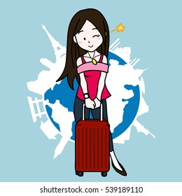 Graphic Vector Illustration Cartoon Character of Cute Girl on Her Vacation with World Background