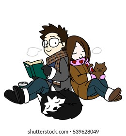 Graphic Vector Illustration Cartoon of Happy Family. Husband and Wife with Their Lovely Cat and Dog Relax in The Winter