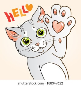 Graphic vector illustration of a cat with a heart on its paw saying hello