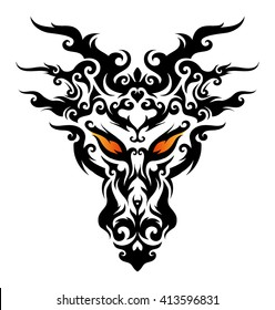Graphic vector illustration of the dragons head.
