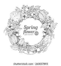 Graphic vector illustration. Wreath of flowers on a white background. Hand drawn artwork. Love concept for wedding invitations, cards, tickets, congratulations, branding. Gift for young girl and women