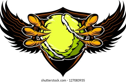 Graphic Vector Image of a  Eagle Claws or Talons Holding Tennis Ball