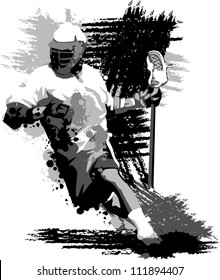 Graphic Vector Image of a Lacrosse Player Running with a Lacrosse Stick