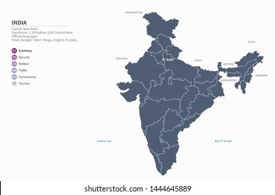 graphic vector of india map