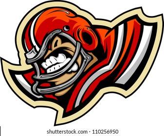 Graphic Vector lllustration of a Mean Tough Football Mascot with Football Helmet