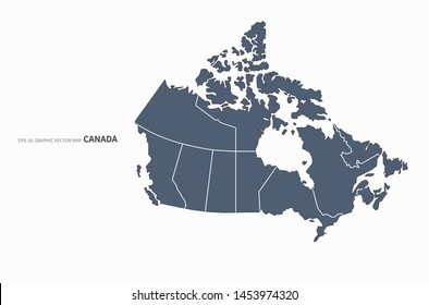 graphic vector map of canada. detailed canada map.