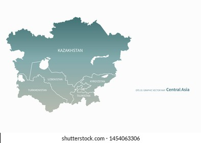 graphic vector map of central asia country. kazakhstan map.