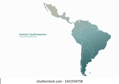 graphic vector map of central, south america