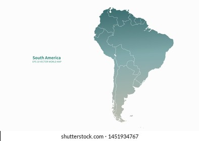 graphic vector map of central, south america. latin america map.