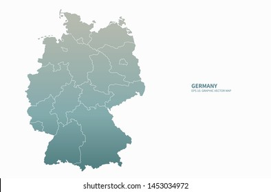 graphic vector map of germany. europe countries map.