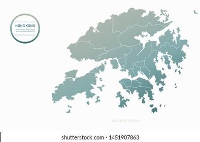 graphic vector map of hong kong