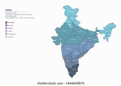 graphic vector map of india
