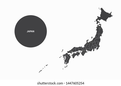 graphic vector map of japan