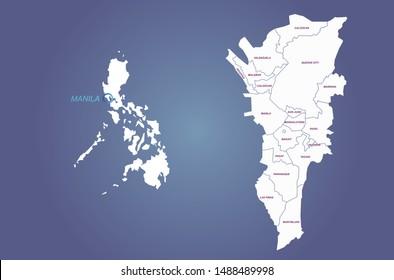 graphic vector map of manila
