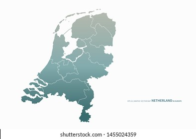 graphic vector map of netherland