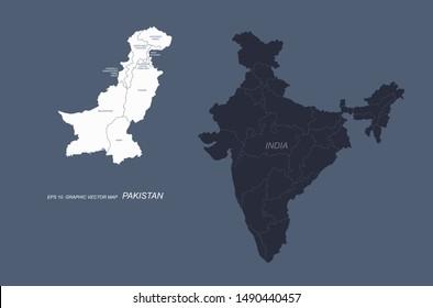 graphic vector map of pakistan