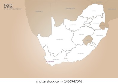 graphic vector map of south africa
