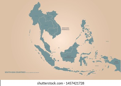 South East Asia Map Images, Stock Photos & Vectors | Shutterstock