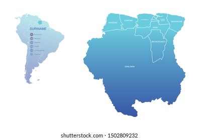 graphic vector map of suriname. south america country map