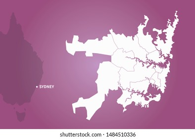 graphic vector map of sydney