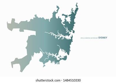 graphic vector map of sydney. australia map.