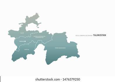 graphic vector map of tajikistan