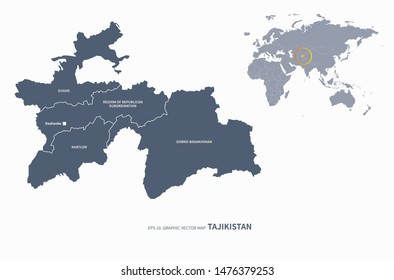 graphic vector map of tajikistan