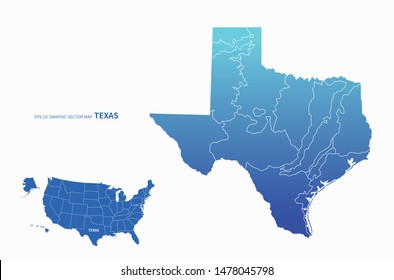 graphic vector map of texas in us. united state texas map.