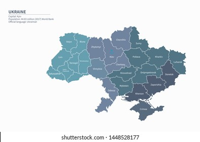 graphic vector map of ukraine