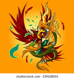 Graphic Vector of Mythical Creatures (Garuda Versus Naga)