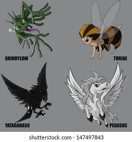 Graphic Vector Of Mythical Creatures Set 13