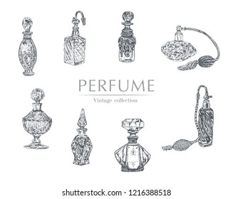 Graphic vector set with black and white perfume bottles. Vintage Victorian Era Engraving style retro lineart Hand drawn illustration