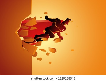 Graphic vector of a superhero break through concrete wall