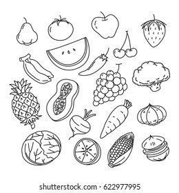 graphic Veggies and fruits, vector