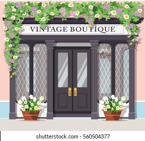 Graphic vintage boutique. Detailed stylish shop. Storefront. Flat style vector illustration.