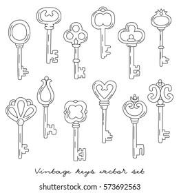 Graphic vintage doodles keys vector set