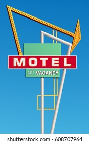 Graphic of a vintage style motel sign. Sky is removable in vector version.