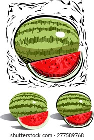 graphic of water melon in woodcut style