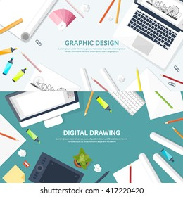 Graphic and web design illustration.Flat style.Designer workplace with tools.Web development,user interface design.UI.Digital drawing.Graphic design trends and ideas.Motion graphic software,tutorial