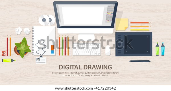 Graphic Web Design Illustrationflat Styledesigner Workplace Stock Vector Royalty Free 417220342