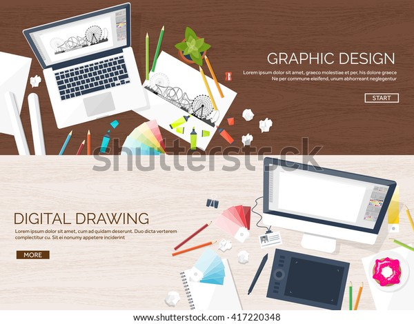 Graphic Web Design Illustrationflat Styledesigner Workplace Stock Vector Royalty Free 417220348