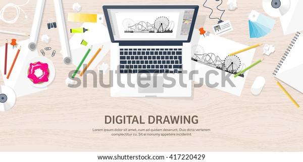 Graphic Web Design Illustrationflat Styledesigner Workplace Stock Vector Royalty Free 417220429