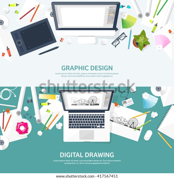 Graphic Web Design Illustrationflat Styledesigner Workplace Stock Vector Royalty Free 417567451