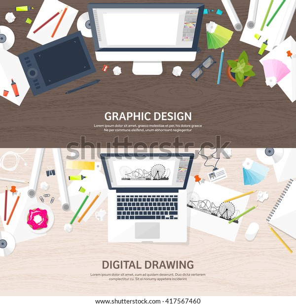 Graphic Web Design Illustrationflat Styledesigner Workplace Stock Vector Royalty Free 417567460