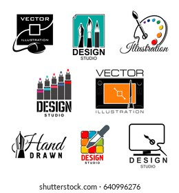 Graphic and web design studio symbol set. Graphic designer tool isolated icon with computer monitor, graphic tablet and digital pen, paint palette, paintbrush, feather pen, color palette and pipette.
