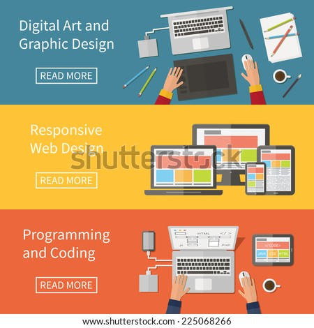 Graphic and Web design, website developing, programming, digital art, coding. Freelance programming code professions. Flat design vector concept banner