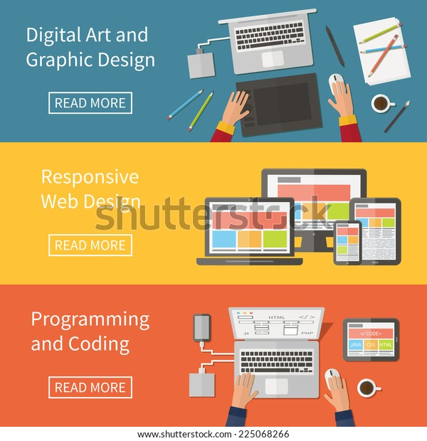 Graphic and Web design, website developing, programming, digital art, coding. Freelance programming code professions. Flat design vector concept banner
