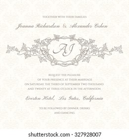 Graphic wedding invitation with frame in Art Nouveau style. Border in brown colors. Can be used for different kinds of invitations, also as label